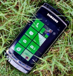 Windows phone in the grass