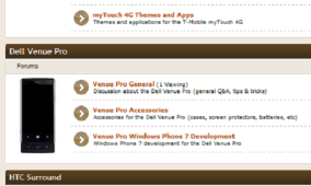 myTouch 4G, HTC Surround, Dell Venue Pro Forums Added