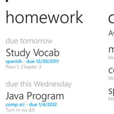 Schedule Your Homework With Power Planner For WP7