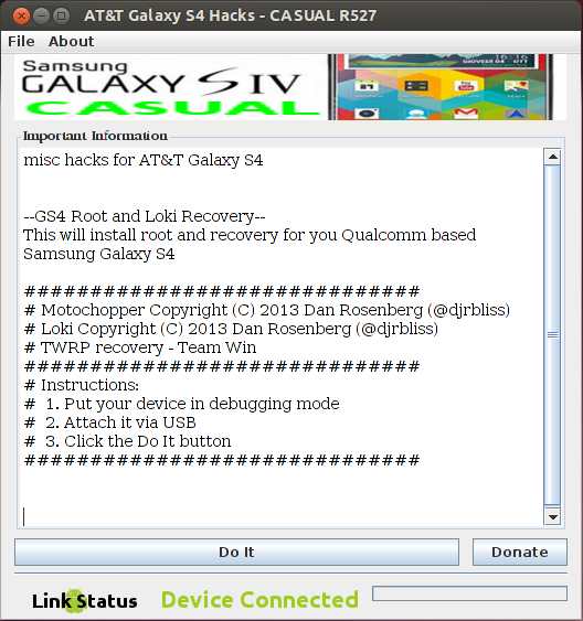 CASUAL Root, Recovery for the AT&T Samsung Galaxy S 4