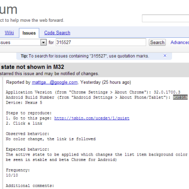 Mystery Android 4.4 (KOT31B) Build Appears on Chromium Issue Tracker