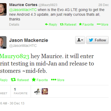 Sprint HTC Evo 4G LTE to Receive Android 4.3 in Mid-Feb