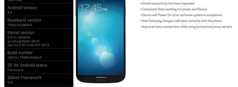 T-Mobile Galaxy S III LTE Finally Gets Android 4.3, Verizon S4 Gets Minor Bugfix OTA