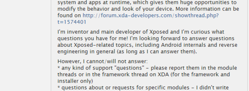Xposed Developer Rovo89 Answers Questions about ART Compatibility, Security, His Favorite Modules, and More in Reddit AMA!