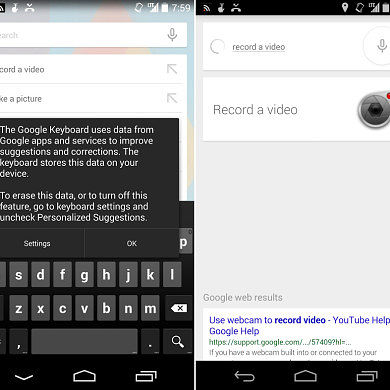 """[APK] Google Keyboard 3.0 Now Offers Personalized Suggestions, Voice Search Now Responds to """"Take a Picture"""" and """"Record a Video"""""""