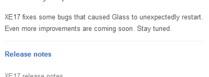 Google Glass XE17 Firmware Trickling out to Glass Explorers