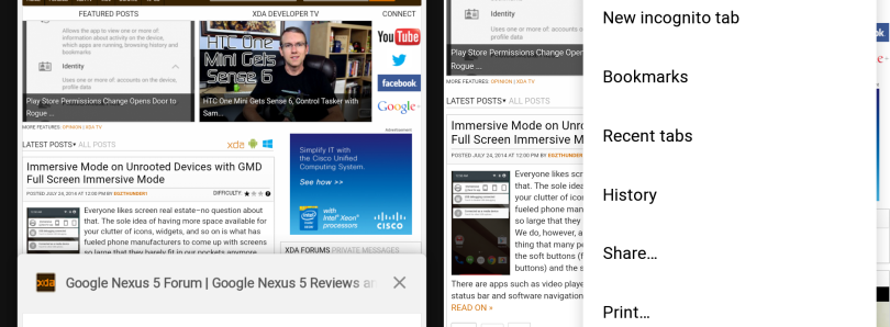 APK] Chrome Beta 37 Brings First Traces of Material Design