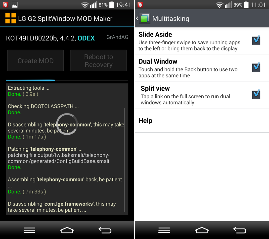 Implement Split View into Your LG G2 KitKat ROM
