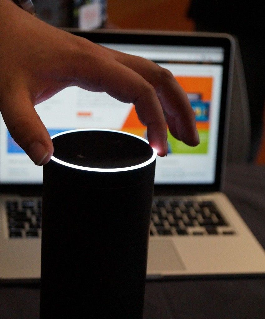 An Amazon Echo in use.