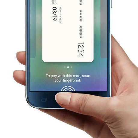 Samsung smartphone with fingerprint getting authenticated for card payment