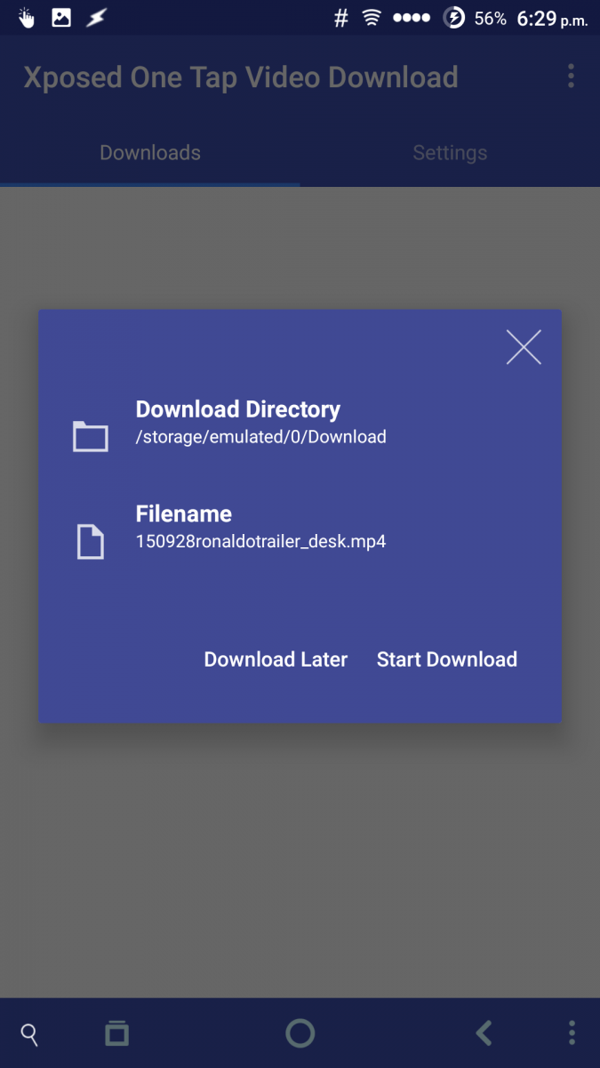 how to enable one tap download in xposed installer