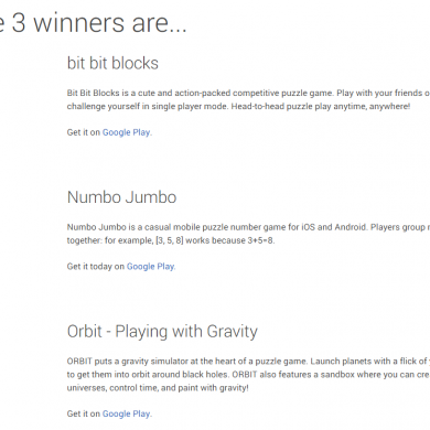 Winners Announced for the Google Play Indie Games Festival