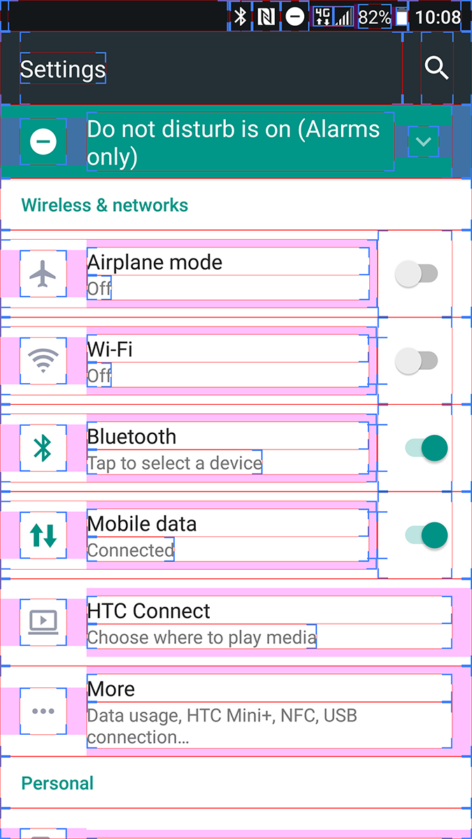 HTC 10 Layout Bounds Bounding Box