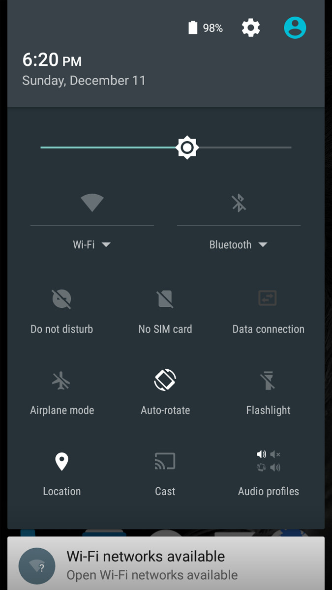 Ulefone Metal Quick Settings Menu