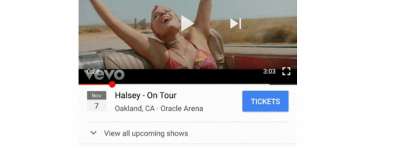 Google Partners with Ticketmaster to Add Artist's Concert Dates on Videos