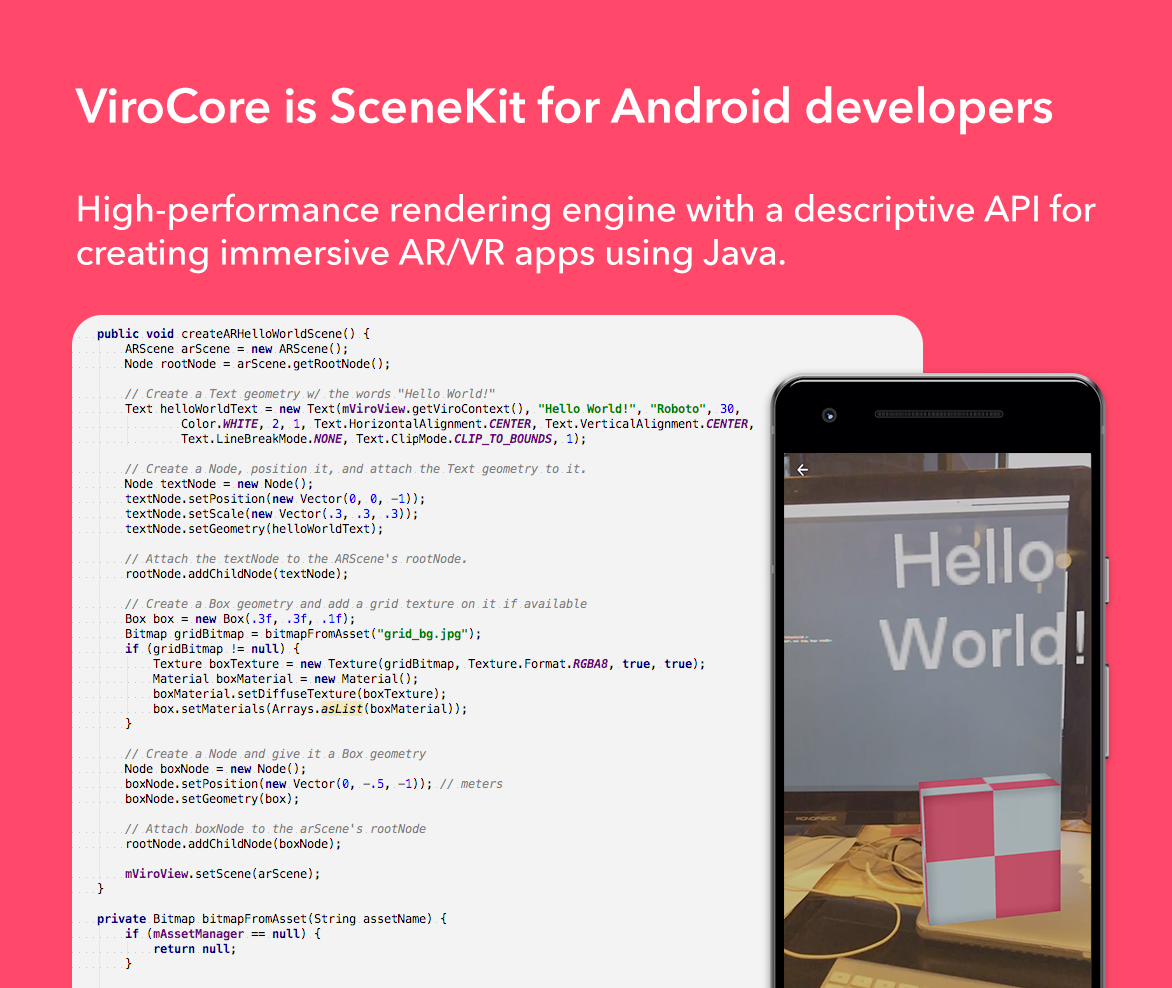 ViroCore is a SceneKit Equivalent to Easily Develop AR/VR Apps in Java