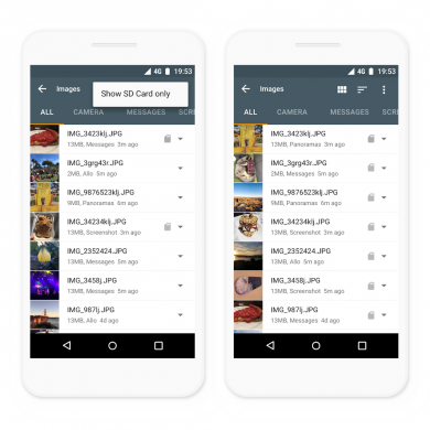 Google Files Go now works on tablets, supports filtering for files on SD card, and lets you set the default handler for file types