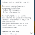 HTC 10 Android Oreo Update
