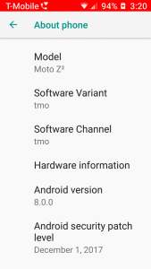 T-Mobile Moto Z2 Force Android Oreo Update
