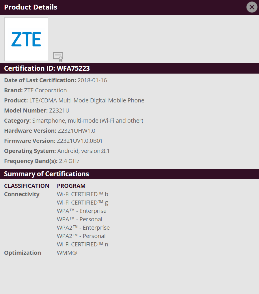 ZTE flagship Android 8.1