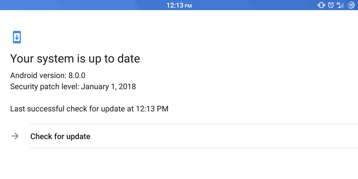 """""""Check for updates"""" button now works on the Pixel 2 with the latest Google a6ad4813da3"""