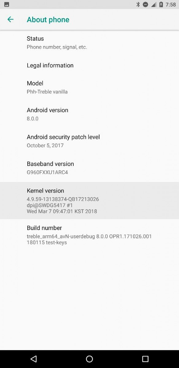 This is the Samsung Galaxy S9 running on AOSP Android Oreo
