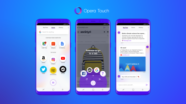 Opera Touch is a new mobile browser optimized for one handed use