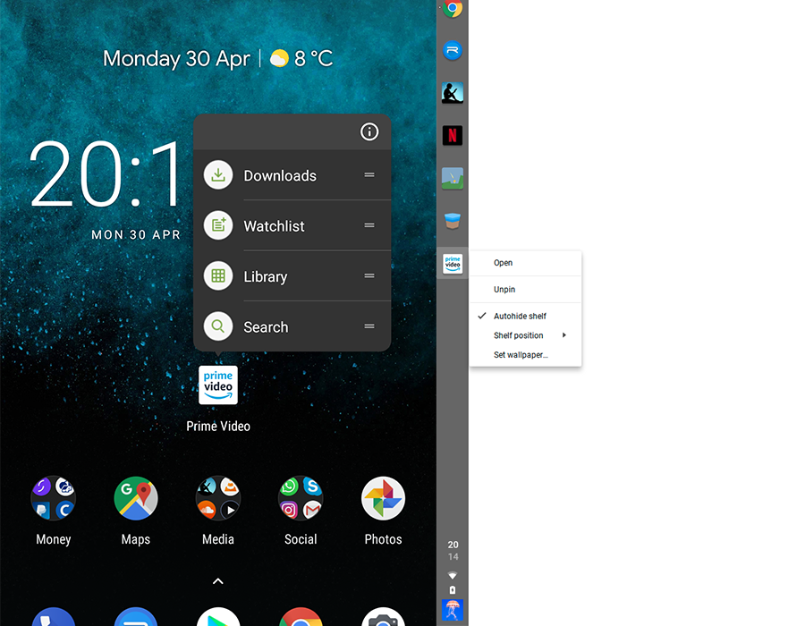 App shortcut menus [left] will bring better Android integration to Chrome OS [right]
