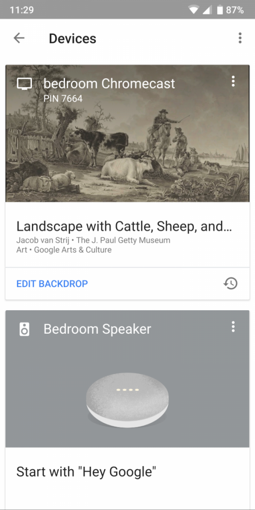 Google Home app old design