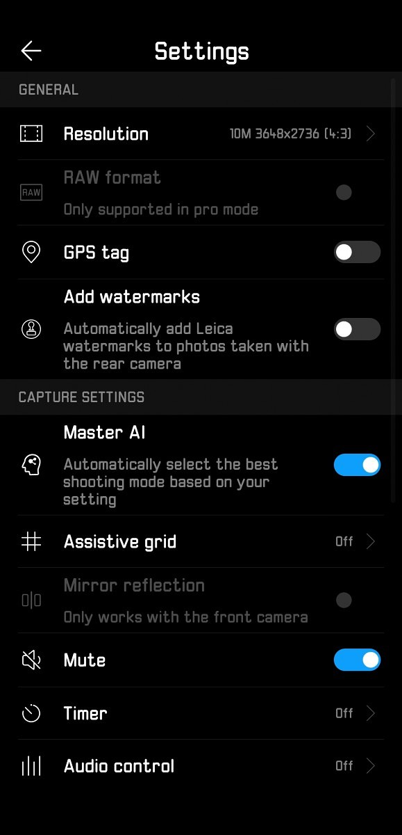 Huawei P20 Pro Camera App Settings