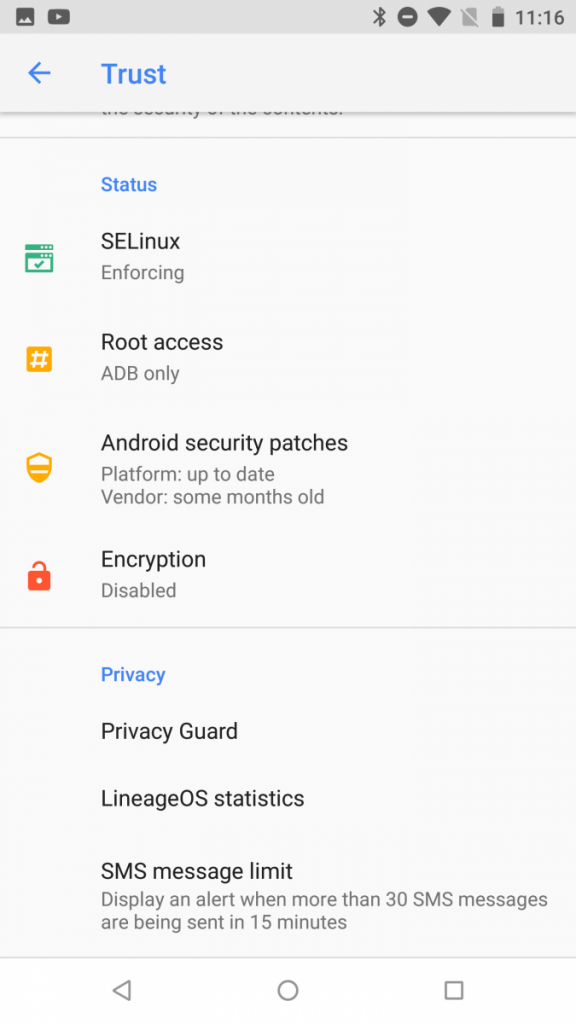 LineageOS Trust Interface to protect Security and Privacy