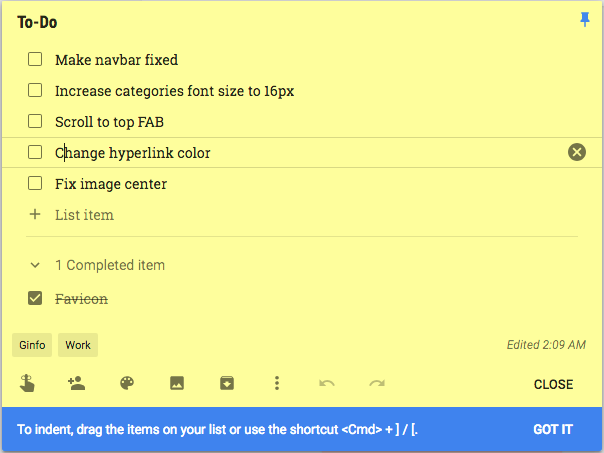 Google Keep now lets you indent items in lists for better