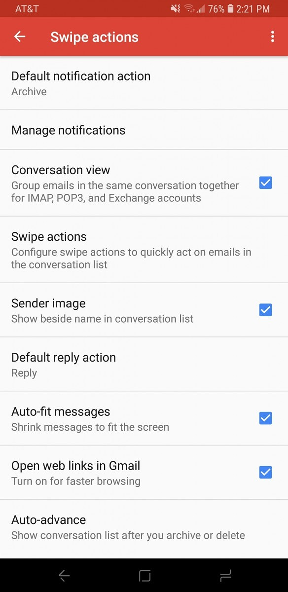Gmail update lets you customize swipes to mark as read