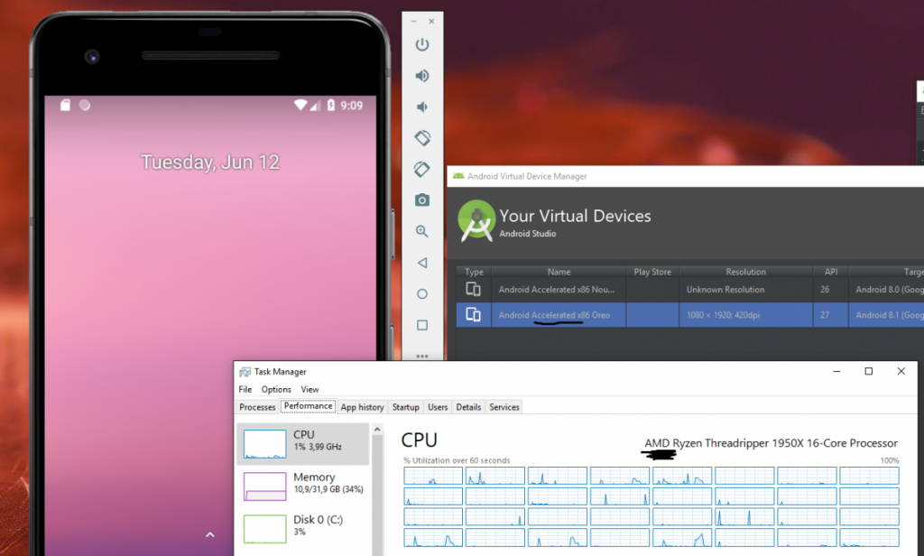 Android Emulator in Android Studio 3 2 supports AMD processors on
