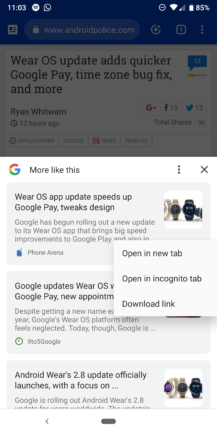 Google Chrome for Android recommended articles
