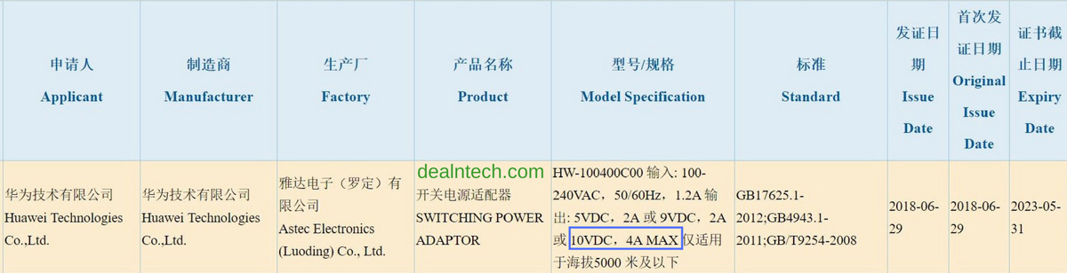 Huawei Power Adapter 10V/4A 3C Certification