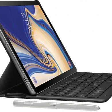 Samsung Galaxy Tab S4 white model with keyboard accessory leaks online