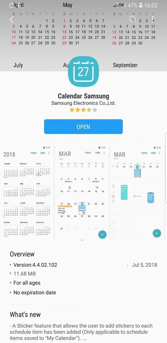 Samsung Calendar update brings stickers to the Samsung