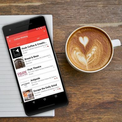 Coffee-Working helps you find the nearest coffee shop you can study or work in