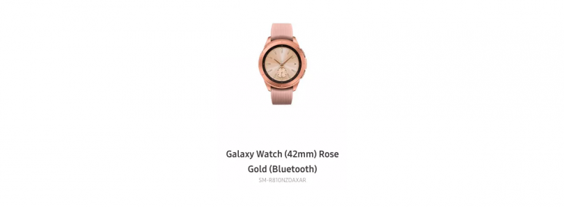 42mm Samsung Galaxy Watch in Rose Gold appears on Samsung's site