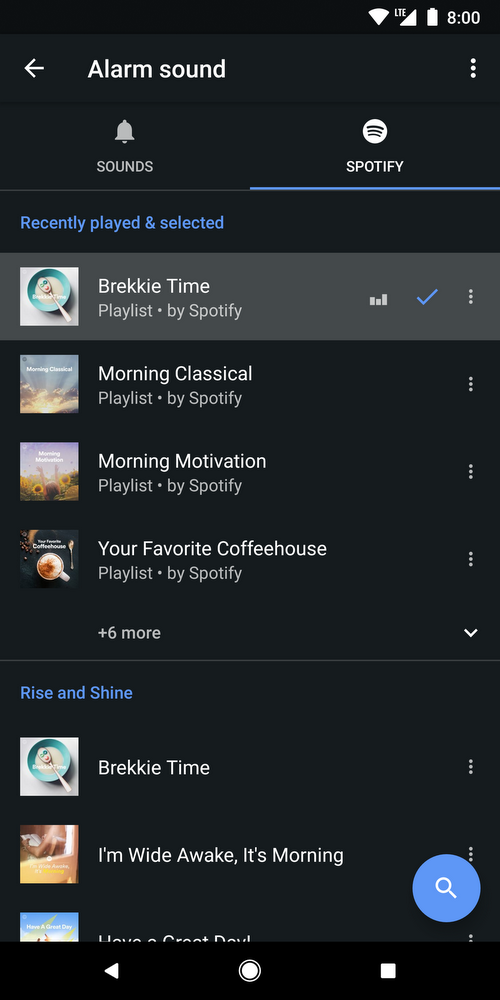 Google Clock app can now use Spotify for alarms