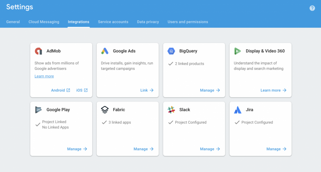 Google Firebase integrations with Jira, Slack, BigQuery, and more