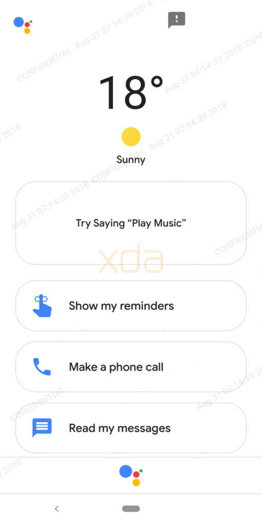 Google Assistant's docked UI when you insert the Google Pixel 3 into the Pixel Stand