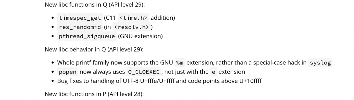 Google document suggests API Level 29 will be Android Q
