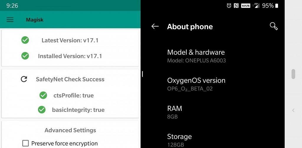 SafetyNet check success on the OnePlus 6 running Android Pie.