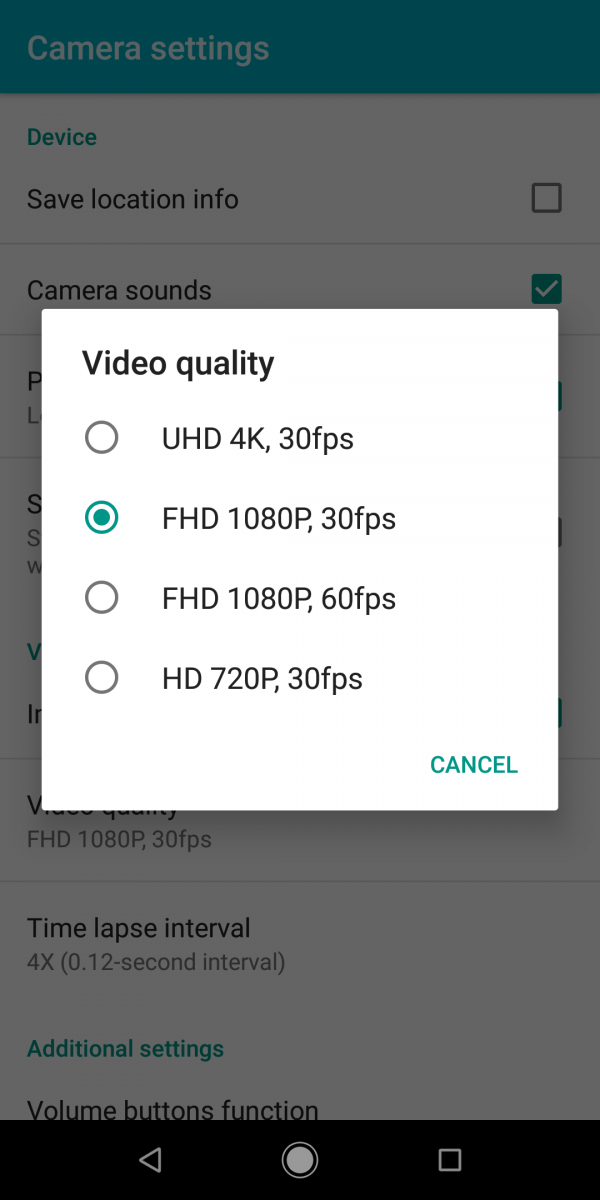 Xiaomi Mi A2 video resolution settings