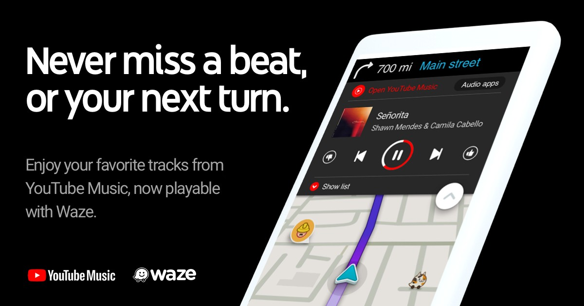 Update: YouTube Music] Waze adds 7 new streaming services to
