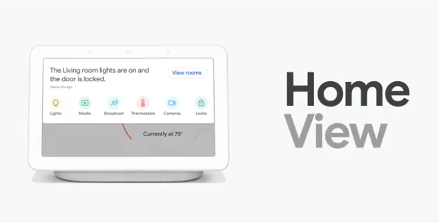 Home View in the Google Home Hub. Control smart devices via tap or voice