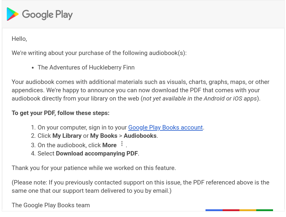 Google Play Books lets you download supplemental PDFs for audiobooks