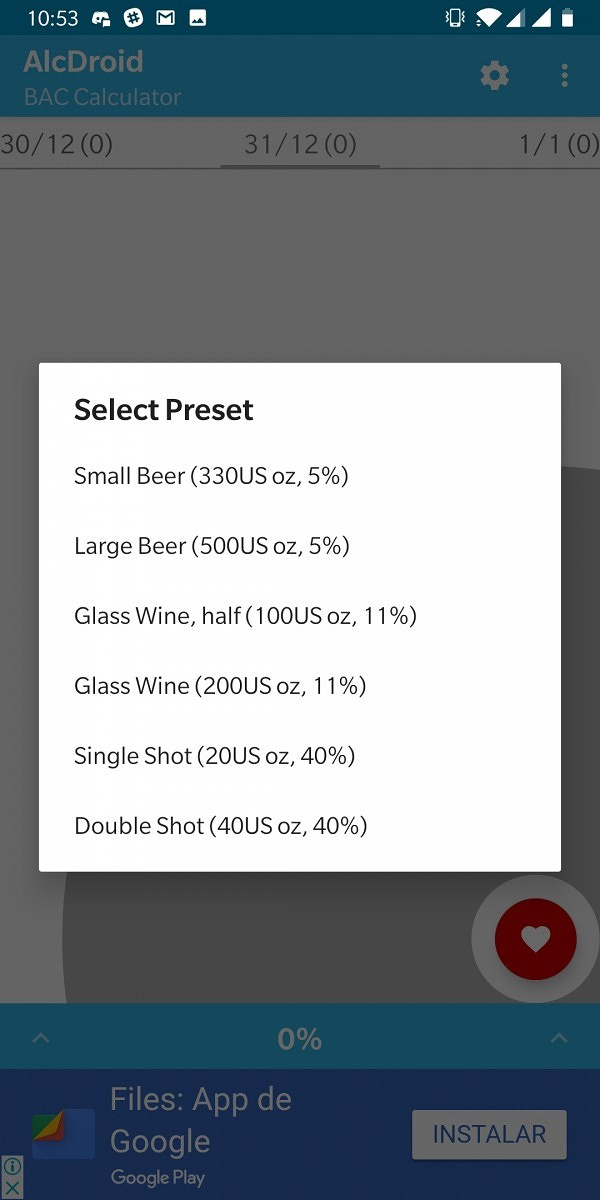 AlcDroid allows you to track how much you're drinking this